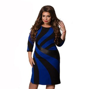 Plus Size Women Clothing Womens Dress Fashion 2019 Women Summer Dress Plus Size Patchwork Ladies O Neck Oversized 6Xl Party Gift Female