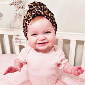 New Europe Infant Baby Boys Girls Hat Kids Elastic Wrinkled Dotnut Turban Hat Children Cotton Leopard Hats 15140