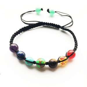 7 Chakra Armband 8mm große Perlen Yoga Armband Healing Balance übernatürliche Lava Reiki Steine Perlen Armband
