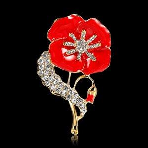 Envío británica Queen broches de cristal flor de la amapola Broche de moda del esmalte rojo de Reino Unido Día del Recuerdo Regalo libre de DHL