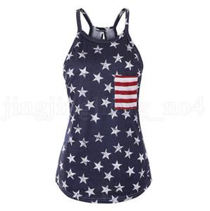 민소매 미국 국기 T - 셔츠 여성 여름 인쇄 티 느슨한 Bowknot 등이없는 패치 워크 O-목 슬링 셔츠 10PCS OOA6904
