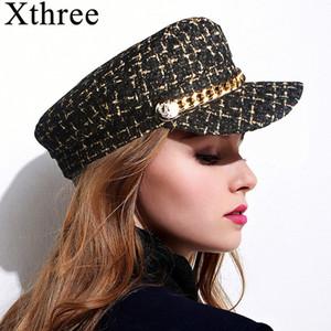 Xthree Autunno Inverno Cappello di lana catena militare Cappelli Cappello moda per le donne Femminile piatto Army Cap Hat salior Ragazze visiera Viaggi Berretti LY191228