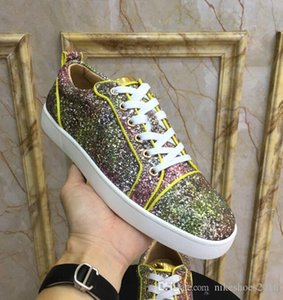 Women Red Bottom Spikes Sneaker Men Classic Style Studded Shoes Low Top Glitter Leather Women,Men Sneakers Shoes Super Quality Trainers