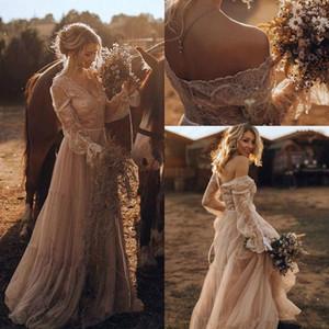 보헤미아 라인 웨딩 드레스 어깨 레이스 아플리케 프릴 긴 소매 얇은 명주 그물 국가 웨딩 신부 드레스 Vestidos 드 노비