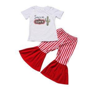 Summer baby girls clothing short sleeve cactus print top red stripe bell bottom pants boutique outfit