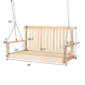 Chaînes de siège suspendues en bois de patio en bois naturel avec balançoire de jardin, balançoire de 4 pi