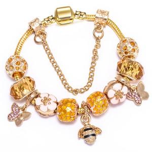 Moda de luxo designer de abelha animais borboleta flor de diamante de cristal DIY europeus encantos miçangas pulseira de mulher meninas