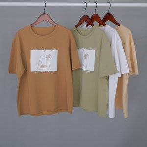 Cheap T-Shirts 2020 Summer 95% Cotton T Shirt Women Abstract Characters Print Short Sleeve Shirt Elegant Harajuku Plus Size Tops