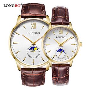 Longbo Marka Lüks Kısaca Tasarım Analog Saatler Çift 5008 Su geçirmez Kuvars saatler Montre Homme Erkek Kadın