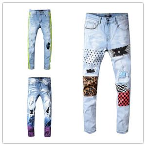19SS Tasarımcı Erkek Kot Sıkıntılı Ripped Biker Jeans Slim Fit Motosiklet Biker Lüks Denim Kot Yeni Marka Moda Tasarımcısı Pantolon
