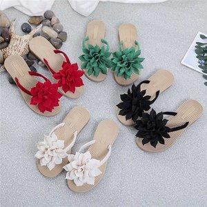 Mulheres Plus Size Chinelos Floral Verão Casual cor sólida falhanços de aleta Ladies Shoes Flat Praia usar chinelos mulheres usam flip-flops