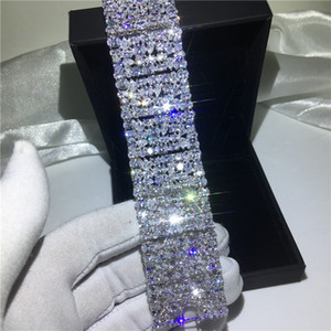 Vecalon Luxury Lady Big Armband Diamant Weißgold gefüllt Engagement Hochzeit Armband für Frauen Brautschmuck