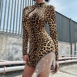 Hip Long Sleeve Leopard Pacote Mini Vestido 2019 Outono Mulheres Sexy oco Out Bust Rhinestone Tassel Partido Vestidos Clubwear