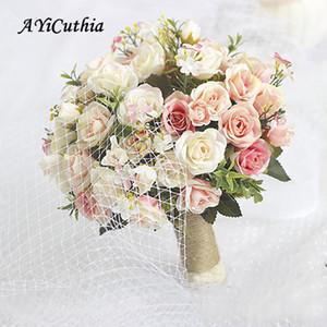웨딩 장식 라모스 드 노비 CJ191223에 대한 신부 꽃다발 casamento AYiCuthia 웨딩 꽃다발 손수 만든 인공 꽃 장미 buque
