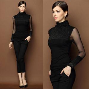Les femmes à manches longues Cardigan en maille mince dentelle noire pailletée Pull à col roulé Pull Outwear de Casual