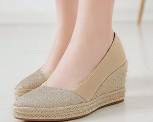 2020 Women's shoes in Spring and Autumn with New style Slope heel round head Suede@8086