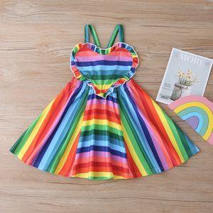 2020 children's clothing small and medium-sized girls children's dress rainbow love dress summer suspender skirt