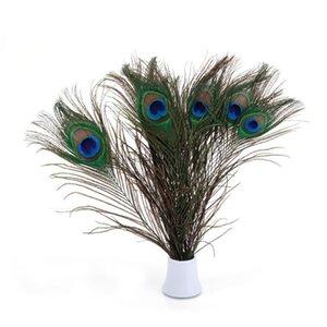 Piume 25-30cm reale naturale Pavone a Craft del costume di Halloween da damigella d'onore Corpetto di Natale corona di fiori Bouquet Peacock Feathers 100pcs