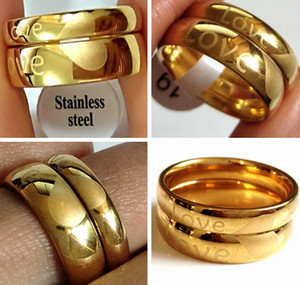 50шт (25pairs) Любовники Любовь Пары Кольцо Золото 6 мм 4 мм Палец из нержавеющей стали Свадебные Обручальное кольцо Жена Муж Подруга Boyfriend подарка