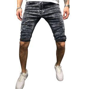 Semplice Mens Denim Shorts Summer Fashion Hole breve allentato uomini di lusso del progettista di jeans corti Middel Vita