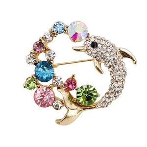 Acessórios Diamante Dolphin Brooch Alloy Originalidade Senhora animal Vestuário Broche Pin produtos