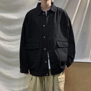 BOSIBIO 2020 Frühjahr neue Jacke Männer Fracht lästige Pflicht Oberbekleidung plus Größe getäfelten Kontrastnaht aus 100% Baumwolle Jacken