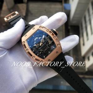 Super Fábrica de luxo Rose Gold RM052 AL New Crânio Dial pulseira de borracha preta Movimento automático Transparente Voltar Men Watch Watches