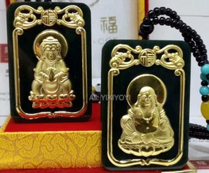 Charming Natural Black Green Hetian Jade + 18K Gold Inlaid Chinese GuanYin Buddha Lucky Pendant + free Necklace Fine Jewelry
