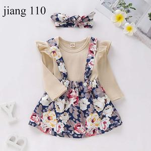 Roupas de bebê meninas Define meninas infantil sólidos roupas de grife manga comprida Blusa miúdos criança Outfits bebê floral Suspender Skirt headband