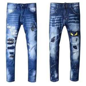 Marca novas do Mens Jeans afligido rasgado Biker Jeans Slim Fit Motociclista jeans 2019 Moda Pants Designer