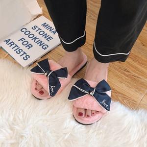 Mulheres sandálias de inverno quente e acolhedor chinelos em casa com aleta flor fur-flops lâminas de pele arco doce laço