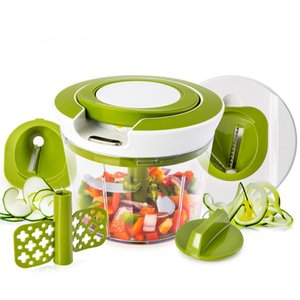 Быстрый вытягивать нитку тяпки еды Овощной Спираль Slicer Мощный Ручной Ручной Chooper / Миксер / блендер для кухни нож кухонный инструмент