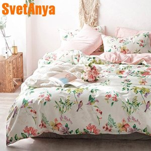 Svetanya Pastoral Cotton Bedding Set printing Bed Linens (sheet pillowcase Duvet Cover) Single double Queen King size T200706