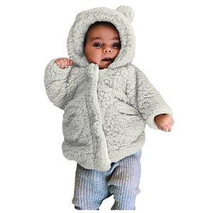 Tout-petit bébé d'hiver à manches longues chaud en molleton à capuchon Zipper Manteaux polaire attrayant massif Dessus attrayant de mode