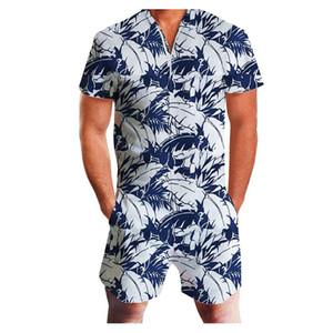 Nouveau Hommes Hawaï Imprimer Zipper Romper manches courtes Combinaions col en V Slim Fit Jumpsuit hommes Casual Male Salopette Jumpsuit