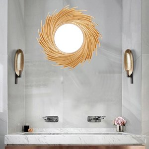Nordic Sun Shape Decorative Mirror Rattan Innovative Art Decoration Round Makeup Mirror Dressing Bathroom Wall Hanging Mirror Other Home Dec