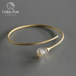 Lotus Fun Real 925 Sterling Silver Natural Crystal Handmade Designer Fine Jewelry Fresh Orchid Flower Bangle for Women CX200706