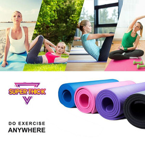 NBR Yoga-Matte 183 * 60cm Super-Stärke Yoga-Matten Anti-Rutsch Tasteless Fitness Esterilla Pilates Home Übungen Gymnastik-Sport-Pad FY6017
