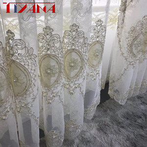 European Luxury Embroidery Screen Beads Tulle Curtain Luxury Home Decoration For Living Room Bedroom Custom Sheer Curtain T260#4 T200323