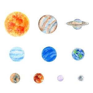10 Adet Planet Güneş Sistemi Floresan Duvar Etiketler Evren Planet Galaxy Çocuk Odası Yatak Odası Aydınlık Duvar Çıkartması Ev D