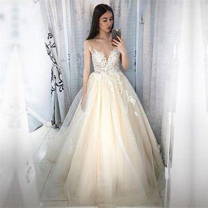 아플리케 레이스 - 라인 웨딩 드레스 민소매 2020 겸손한 정장 신부 가운 사용자 정의 긴 로브 드 Mariee의 간단한