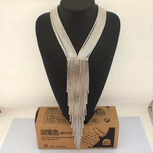 Europe and America exaggerated retro multi-layer tassel luxury long necklace