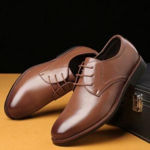 Herbst draußen tragen Männer Arbeit Kleid Schuh-Ebenen-echtes Leder Breathable bequeme Lace-up Business-Solid Color High Quality