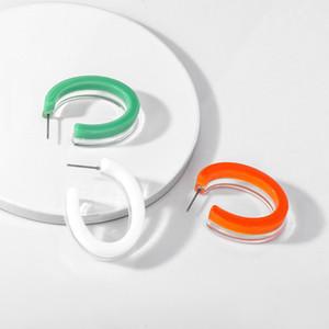 المرأة الكورية الجديدة القرط الهندسي سي على شكل قرط المرأة Acrylic شفافة لون الحلوى الدائرة الراتنج الراتنج Chunky قرط حزب Brincos