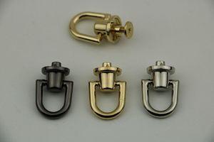 Metal Yuvarlak D O Ring Stud Yan Klip Çanta Vida Çivi Perçin Kayış Bağlayıcı asın Toka DIY Çanta Deri Aksesuarları