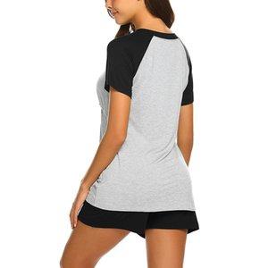 2PCS materna maternità a maniche corte di colore solido cucitura l'allattamento al seno T-shirt la camicia del bambino + shorts Pajamas Set gestante 40 *