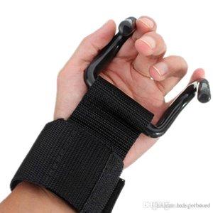 2 pezzi Peso di sollevamento della cinghia di sostegno Hook Palestra Fitness pesi Fitness Training polso manubri Supporto Grips Wristband Guanti hxl coppia