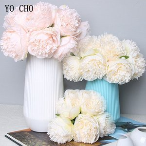 5 pc Grande Peônia Artifcial Flor De Seda Buquê de Casamento Decoração Peônia Branca Exibição Em Casa Pacote de Flores Falsas Peônia Coração Rosa Rosa