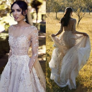 Abiti da sposa country in pizzo chic a manica lunga su misura Appliqued perline Paillettes Una linea Sweep Train Beach Abito da sposa Abiti da sposa Boho