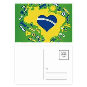 Heart-shaped Orderm Brazil Maps Postcard Set Birthday Thanks Card Mailing Side 20pcs